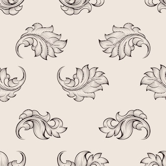 Grawerowany kwiatowy wzór. powtórzenie kwiatowy bezszwowe tło, tło kwiatowy wystrój, ilustracja kwiatowy ornament wektor