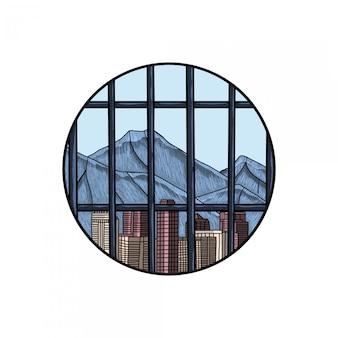 Grawerowany rysunek miasta w więzieniu