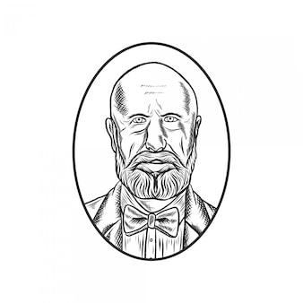 Grawerowany rysunek starca