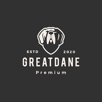 Greatdane psi modnisia rocznika loga ikony ilustracja