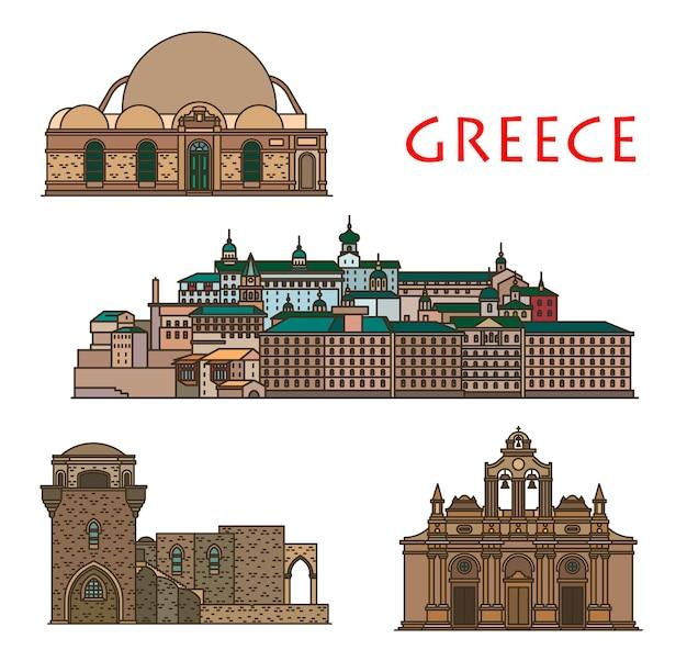 Grecja architektura, kościół i klasztor na krecie i rodos, wektor greckie zabytkowe budynki. święty panteleimon lub rossikon, klasztor filerimos i arkadi oraz meczet hassana paschy, grecja podróż