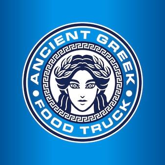 Grecja Kobieta Logo Szablon Premium Wektorów