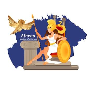 Grecka bogini atena z włócznią siedzą na tronie.