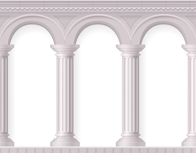 Grecka i realistyczna kompozycja antycznych białych kolumn z białymi starożytnymi łukami