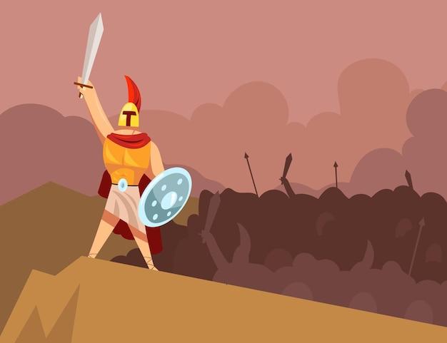 Grecki bóg wojny prowadzący gniewną armię starożytnych zbrojnych wojowników