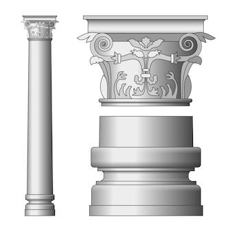 Greckie kolumny na białym tle