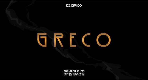 Greco, elegancki krój pisma w stylu vintage. czcionka alfabetu z motywem art deco. minimalistyczna typografia