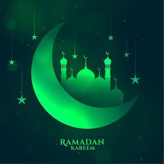 Greem ramadan kareem błyszczące tło z księżycem i meczetem