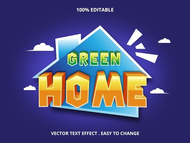 Green home edytowalny efekt tekstowy