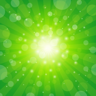 Green sunburst z bokeh