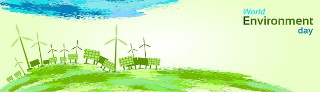 Green wind turbine solar energy panel światowy dzień ochrony środowiska