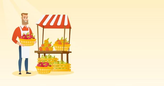 Greengrocer gospodarstwa pudełko pełne jabłek.