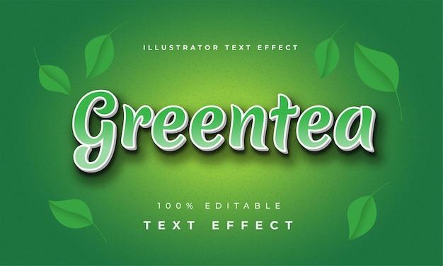 Greentea nowoczesny efekt tekstowy ilustrator