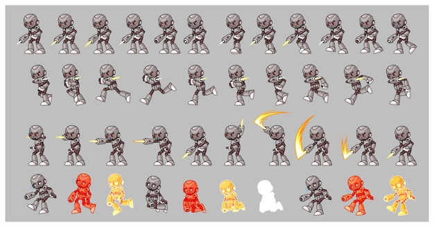 Grey cyborg enemy game sprites