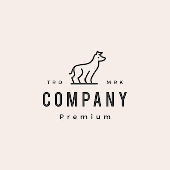 Greyhound pies hipster rocznika logo szablon