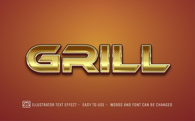 Grill 3d złoty - edytowalny styl efektu tekstu