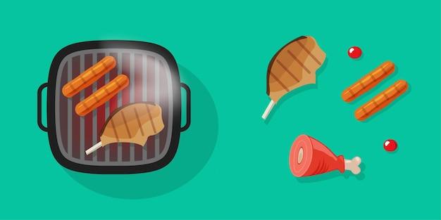 Grill grillowy z mięsem bbq jedzenie na białym tle lub ikona grilla z grillowanymi kiełbaskami płaska kreskówka