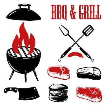 Grill i grill. piec na grillu mięso z rozwidleniem i kuchenną szpachelką na grunge tle. elementy plakatu, godło, znak. ilustracja
