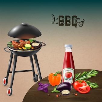 Grill kiełbasy gotuje na grillu z warzywami i ketchup realistyczną ilustracją