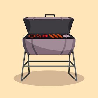 Grill lub grill-barbecue. piknik na kempingu. przyjęcie z grilla. tradycyjne gotowanie, ikona menu restauracji. grillować na rozżarzonych węglach. grill na węgiel drzewny z pysznym grillowanym mięsem i wędlinami.