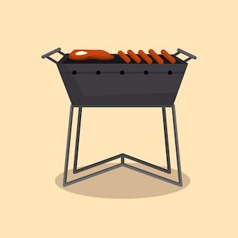 Grill lub grill-barbecue. piknik na kempingu. przyjęcie z grilla. tradycyjne gotowanie, ikona menu restauracji. grillować na rozżarzonych węglach. grill na węgiel drzewny z pysznym grillowanym mięsem lub kiełbasą.