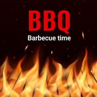 Grill na węgiel drzewny grill w realistycznym wektorze ognia. płonące iskry i cząsteczki latające w ciemności nad metalowymi prętami. czas na grillowanie, restauracja ze stekami i grillem lub baner kawiarni z grillem