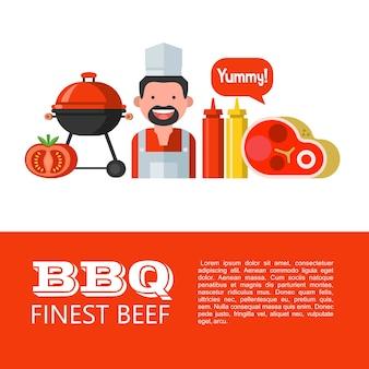 Grill. najlepsza wołowina. ilustracja wektorowa zestawu symboli. szczęśliwy kucharz, piękny świeży stek, grill, musztarda i ketchup, pomidor. pyszny. ilustracja z miejscem na tekst.