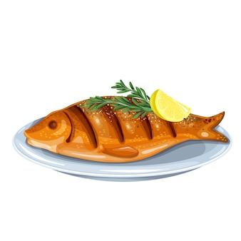 Grillowana ryba z rozmarynem i cytryną na talerzu. całe pieczone dorado ilustracja.