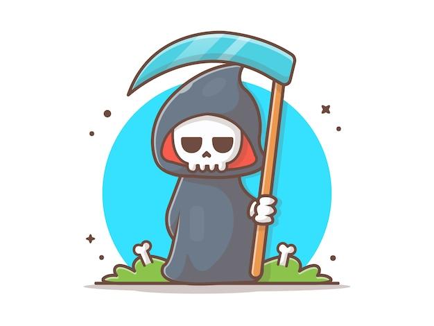 Grim reaper charakter ikona ilustracja wektorowa