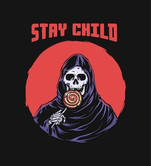 Grim reaper jeść lizak retro ilustrację