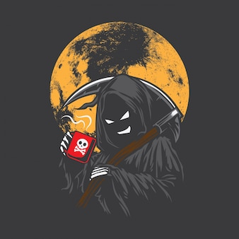 Grim reaper picia kawy