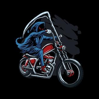 Grim reaper riding illustration