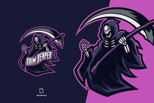 Grim reaper skull z logo maskotki kosy dla ilustracji zespołu esport