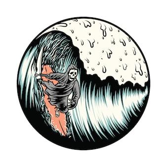 Grim reaper surfing summer graphic illustration