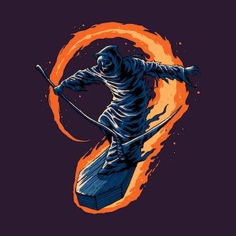 Grim reaper szybuje z trumną
