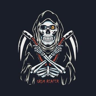 Grim reaper z podwójnym sierpem ręcznie rysowane ilustracji