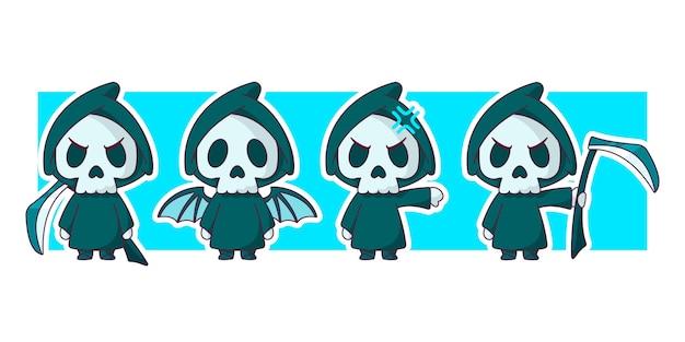 Grim reaper ze skrzydłami, trzymając kosę znaków zestaw ilustracji.