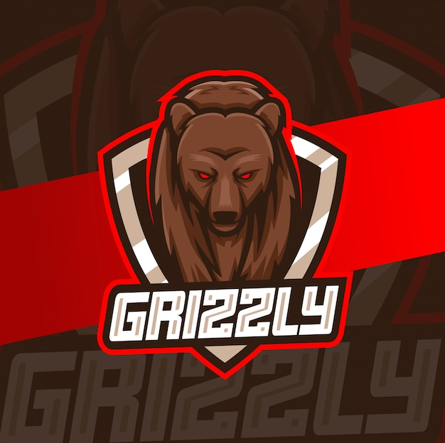 Grizzly bear maskotka esport logo design