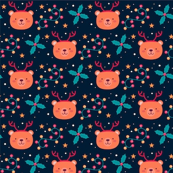 Grizzly funny christmas pattern