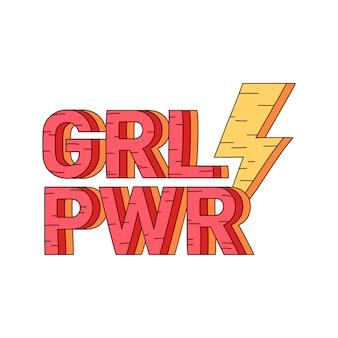 Grl pwr girl power badge vector