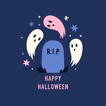 Grób i słodkie upiorne duchy ilustracja wektorowa koncepcja halloween