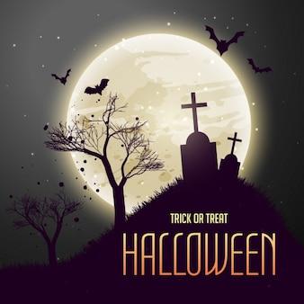 Grób w od księżyca scary halloween tle