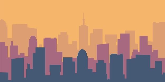 Gród kreskówka. puste mieszkanie żywe miasto sylwetka. panoramę miasta w ciągu dnia. wektor panoramiczny budynek przedstawia miejski krajobraz
