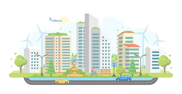 Gród z wiatrakami - nowoczesny projekt płaski styl wektor ilustracja na białym tle. uroczy kompleks mieszkaniowy z wieżowcami, samochodem, fontanną, drzewami, latarniami. ekologiczna koncepcja miejsca?