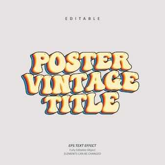 Groovy plakat tytuł social media vintage efekt tekstowy edytowalny wektor premium premium