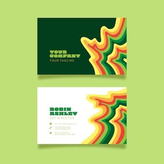 Groovy psychodeliczne kolorowe wizytówki