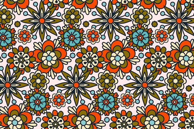 Groovy ręcznie rysowane kwiatowy wzór