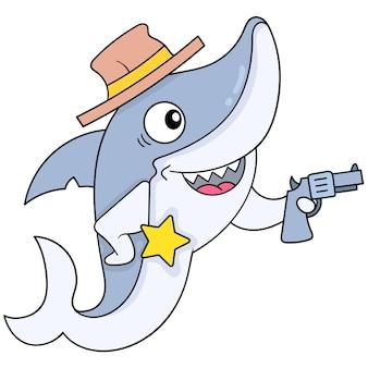 Groźny rekin w kowbojskim kapeluszu i odznakę szeryfa dla bezpieczeństwa. doodle ikona kawaii.
