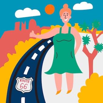 Gruba dziewczyna głosuje autostradą 66 autostopem przez amerykę