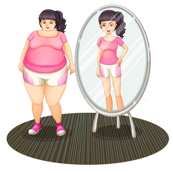 Gruba dziewczyna i jej szczupła wersja w lustrze